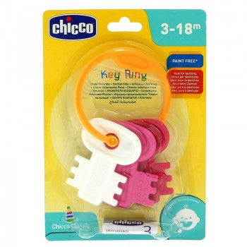 CHICCO SONAJERO LLAVES COLOREADAS ROSAS 3-18 MESES