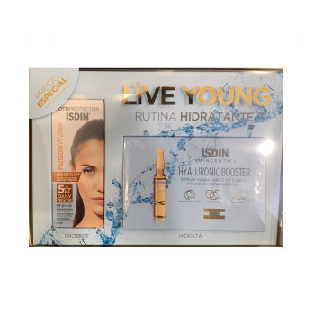 ISDIN PACK SPF 50 FUSION WATER 50 ML + HYALURONIC BOOSTER 5 AMPOLLAS