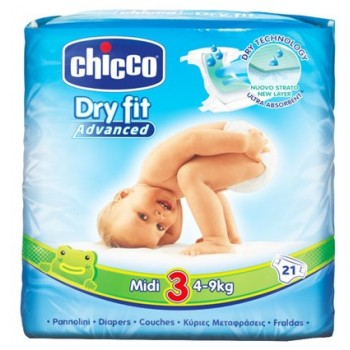 PAÑALES DRY FIT CHICCO 3 4-9 KG